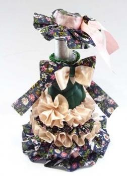 Flaschen Überzug Kleid mit Hut incl.kl.Sektflasche